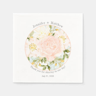 Circle Frame Pale Peach Roses Greenery Reception Disposable Serviette