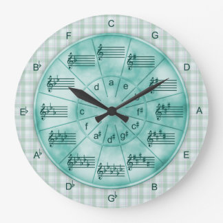 Circle of Fifths Turquoise Marble for Musicians Large Clock