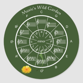 Circle of Fifths's Wild Garden for the Musician Classic Round Sticker