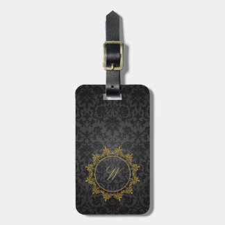 Circle Ornaments Monogram on Black Damask Luggage Tag