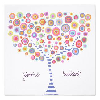 """Circle Tree Retro Blank Fill In Invitation 5.25"""" Square Invitation Card"""