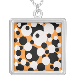 Circles in black and white on orange necklace