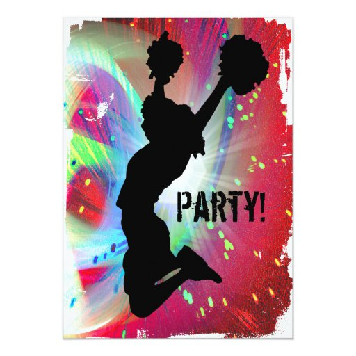 Circular Colorburst with Cheerleader 13 Cm X 18 Cm Invitation Card