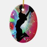 Circular Colorburst with Cheerleader Christmas Tree Ornament