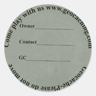 circular geocache label round sticker