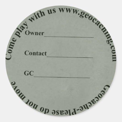circular geocache label sticker