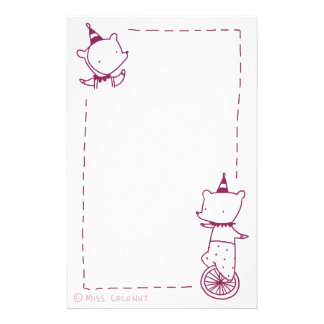 Circus Bears - Unicycle & Party Hats (purple) Stationery