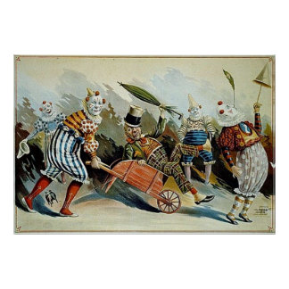 Circus Clowns Vintage Art Poster