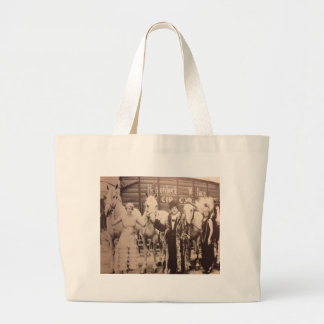 Circus Performers and White Horses Large Tote Bag