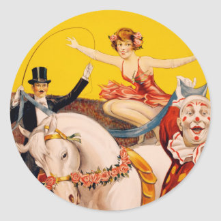 Circus performers vintage illustration round sticker