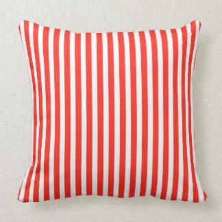 Circus Red and White Cabana Stripes Cushion