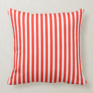 Circus Red and White Cabana Stripes Throw Pillow
