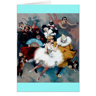 Circus vintage poster ballerina dogs trapez greeting card