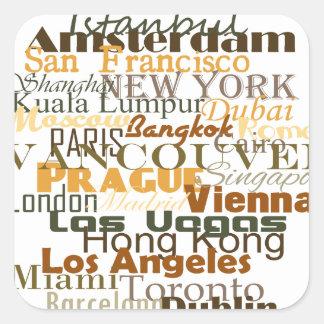 Cities Around The World Square Sticker