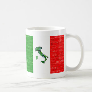 Cities, Map, and Flag of Italy Mug