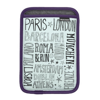 Cities of Europe Chic Modern Typography City Gifts iPad Mini Sleeve