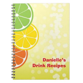 Citrus crush juicy round lemon lime orange slices notebooks