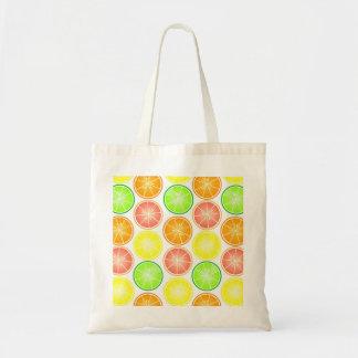Citrus Fruit Print - Lemon Lime Orange Grapefruit Budget Tote Bag