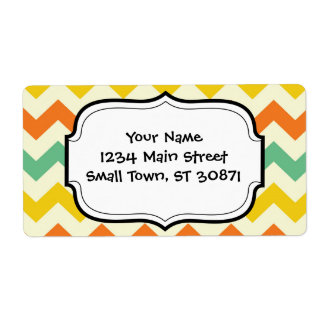 Citrus Lime Green Orange Yellow Chevron Zigzags Shipping Label