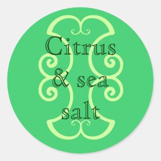 Citrus & sea salt round sticker