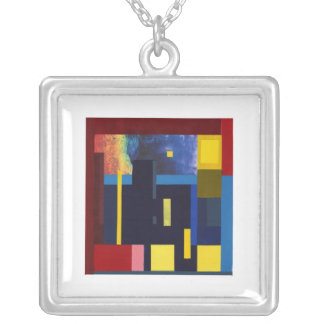 City in Triadic Silver Plated Necklace
