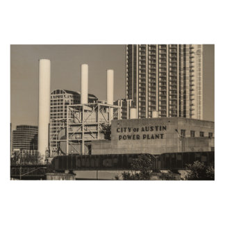 City of Austin Power Plant Wood Wall Art