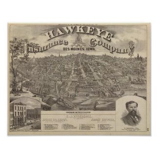 City of DesMoines from South Park Hill Poster
