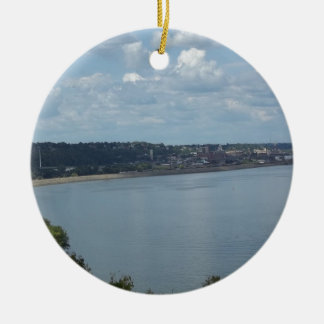 City of Dubuque Iowa on the Mississippi River Christmas Ornament