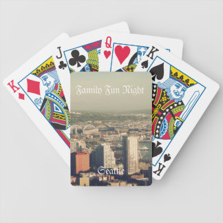 City of Seattle. View from city tower. Landscape Bicycle Playing Cards