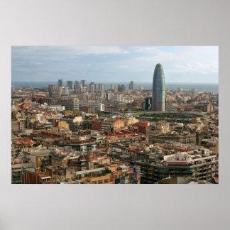 cityscape of barcelona poster