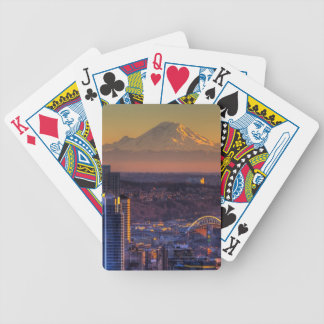 Cityscape view of Seattle downtown, football Bicycle Playing Cards