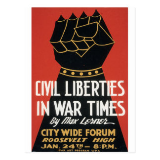Civil Liberties in War Times Postcard