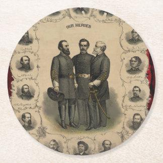 Civil War Heroes Round Paper Coaster