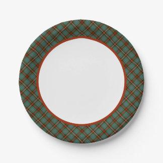 Clan Fraser Hunting Tartan Border Paper Plate