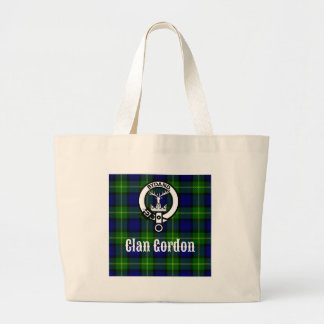 Clan Gordon Tartan Crest Large Tote Bag