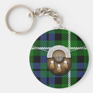 Clan Graham Tartan And Sporran Basic Round Button Key Ring