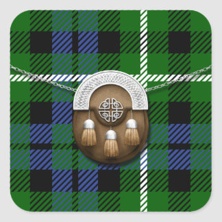 Clan Graham Tartan And Sporran Square Sticker