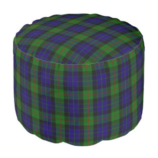 Clan Gunn Scottish Style Blue Green Tartan Pouf