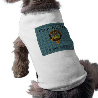 Clan Keith Crest and Tartan Dog T-Shirt