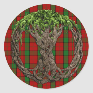 Clan Maxwell Tartan And Celtic Tree Of Life Classic Round Sticker