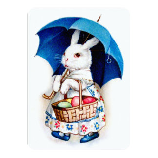 Clapsaddle: Easter Bunny Girl with Umbrella Card