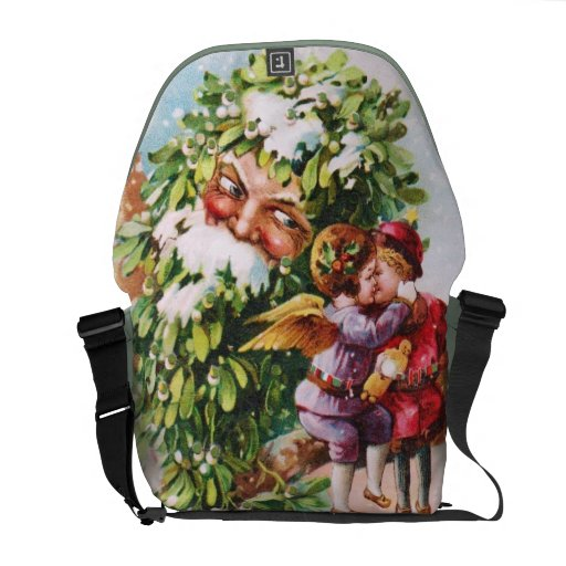 Clapsaddle: Mistletoe Father with Angels Courier Bag