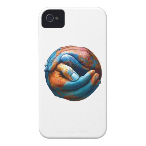 Clasped Hands Forming Planet Earth World Peace iPhone 4 Case
