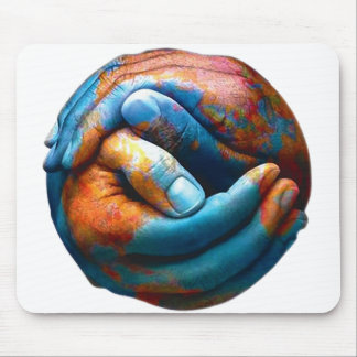 Clasped Hands Forming Planet Earth World Peace Mousepads