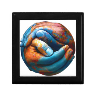Clasped Hands Forming Planet Earth World Peace Small Square Gift Box