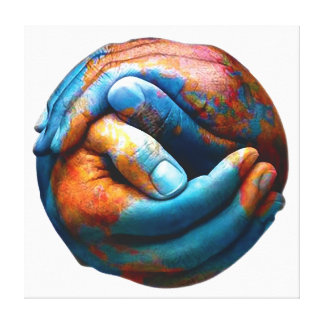 Clasped Hands Forming Planet Earth World Peace Stretched Canvas Print