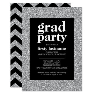Class 2017 Graduation Party black silver glitter Card