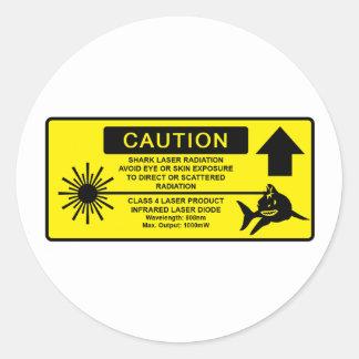 Class 4 Laser Shark Classic Round Sticker