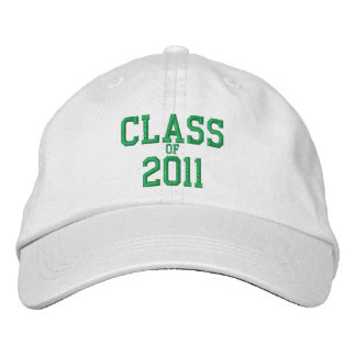 Class of 2011 Green Embroidered White Baseball Cap