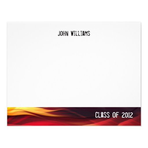 Class of 2012 Black and Red Flames Thank You Card Personalized Invites